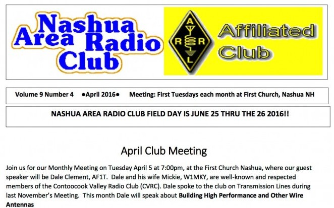April Club Newsletter Front Page
