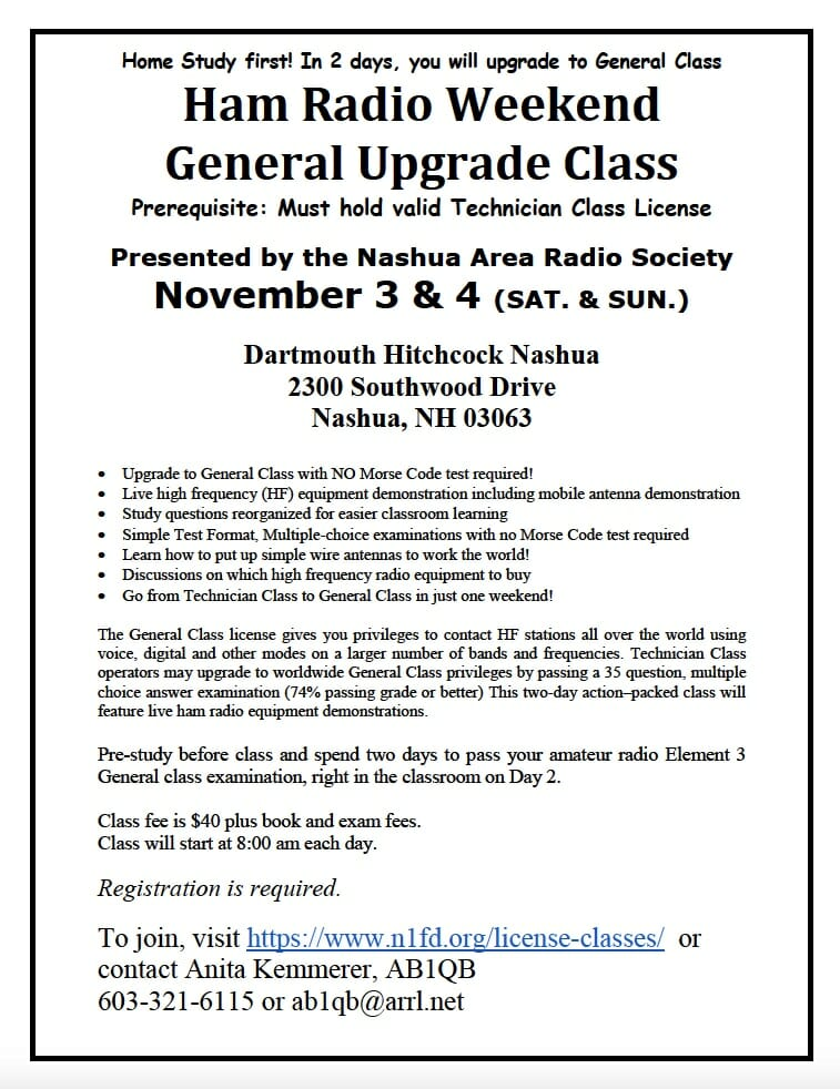 nashua area radio society amateur radio license class offerings